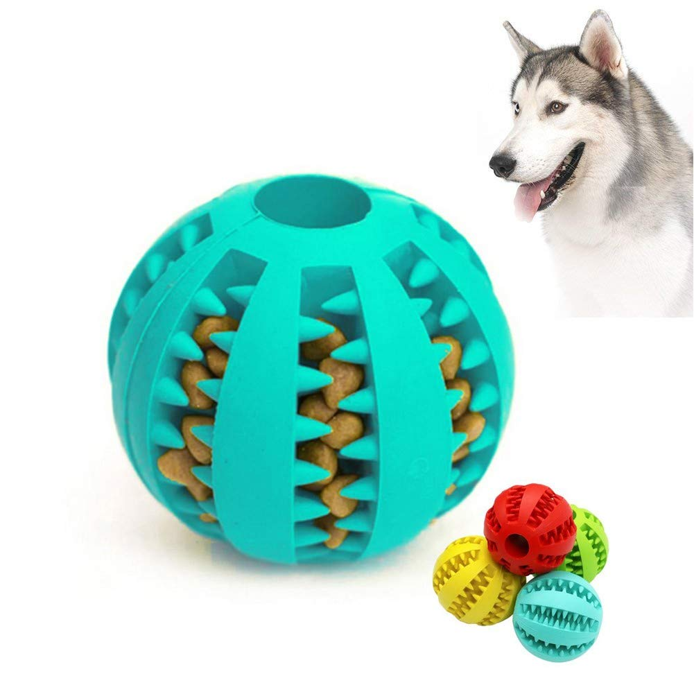 bluee BDog Toy Ball, Nontoxic Bite Resistant Toy Ball,Dog Chew Ball Toy Tooth Cleaning Dental Treat for Pet Dogs Puppy Cat, Dog Pet Food Treat Chewing Training Playing