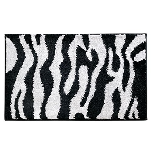 - InterDesign Zebra Non-Slip Microfiber Accent Rug for Bathroom, Tub or Vanity – Pack of 2, Black/White