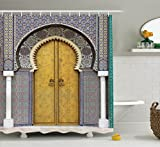 Ambesonne Arabian Decor Collection, Golden Door of Royal Palace in Fes Morocco Vintage Moroccan Artwork Picture, Polyester Fabric Bathroom Shower Curtain Set with Hooks, Navy Ivory
