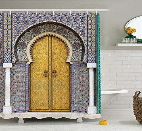Ambesonne Arabian Decor Collection, Golden Door of Royal Palace in Fes Morocco Vintage Moroccan Artwork Picture, Polyester Fabric Bathroom Shower Curtain Set with Hooks, Navy Ivory by Ambesonne