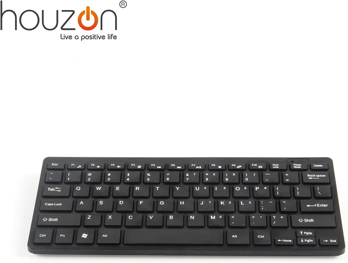 HOUZON® Mini Teclado y Ratón Inalámbricos 2.4G Para PC Portátil - Negro