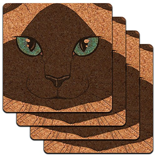 - Siamese Cat Face Pet Kitty Seal Point Low Profile Cork Coaster Set