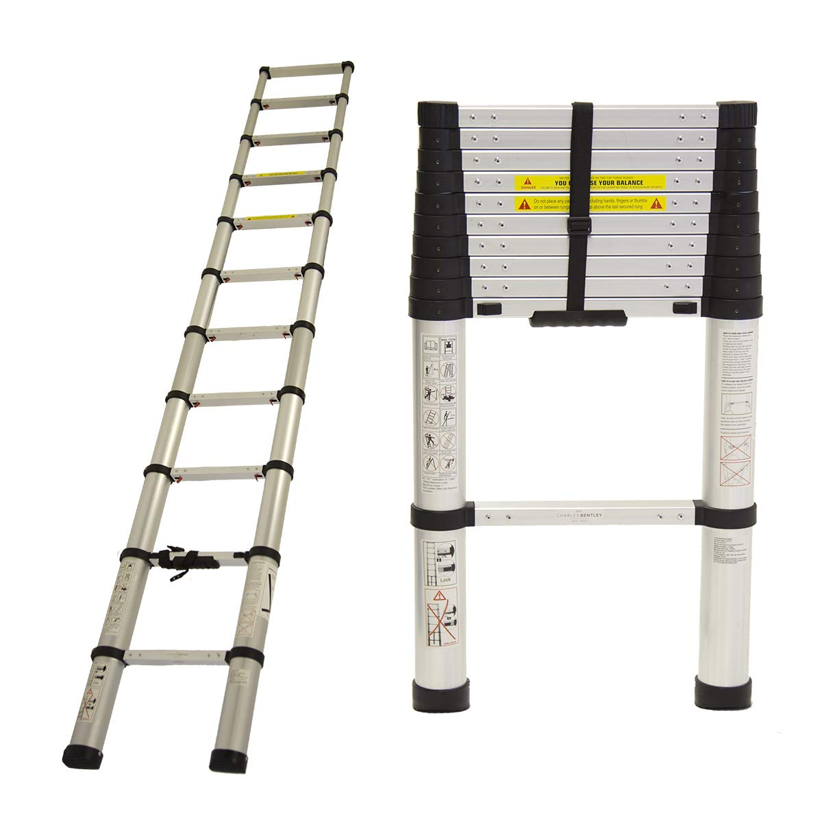 Charles Bentley 3.2m Telescopic Extendable Ladder