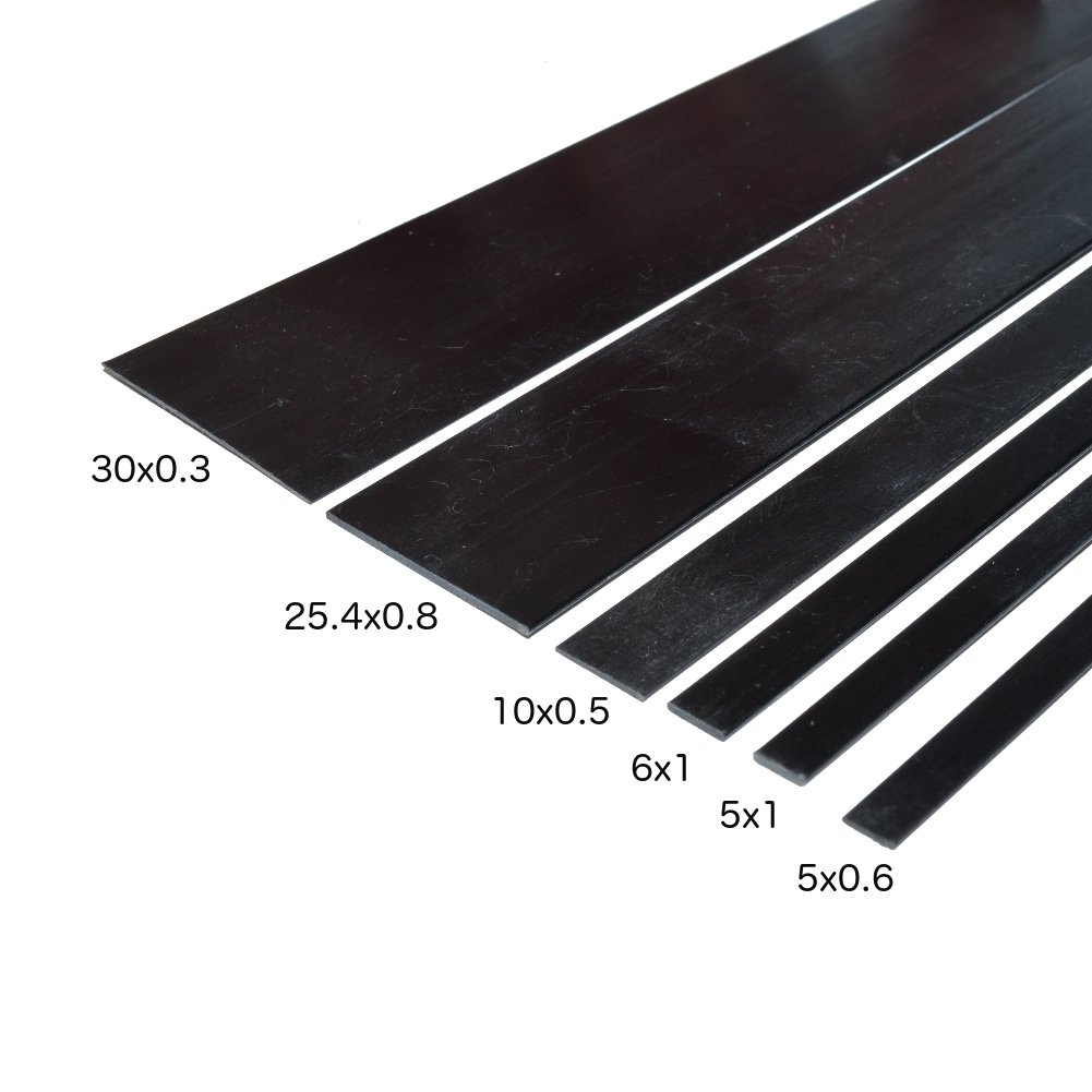Carbon Fiber Strips 6mm x 1mm 1000mm for Kites, RC Airplanes, and More! Includes 5 Strips. by Carbon Composites
