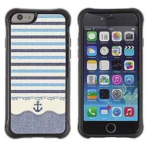 LASTONE PHONE CASE / Suave Silicona Caso Carcasa de Caucho Funda para Apple Iphone 6 / Stripws Crocheted Fabric Boat