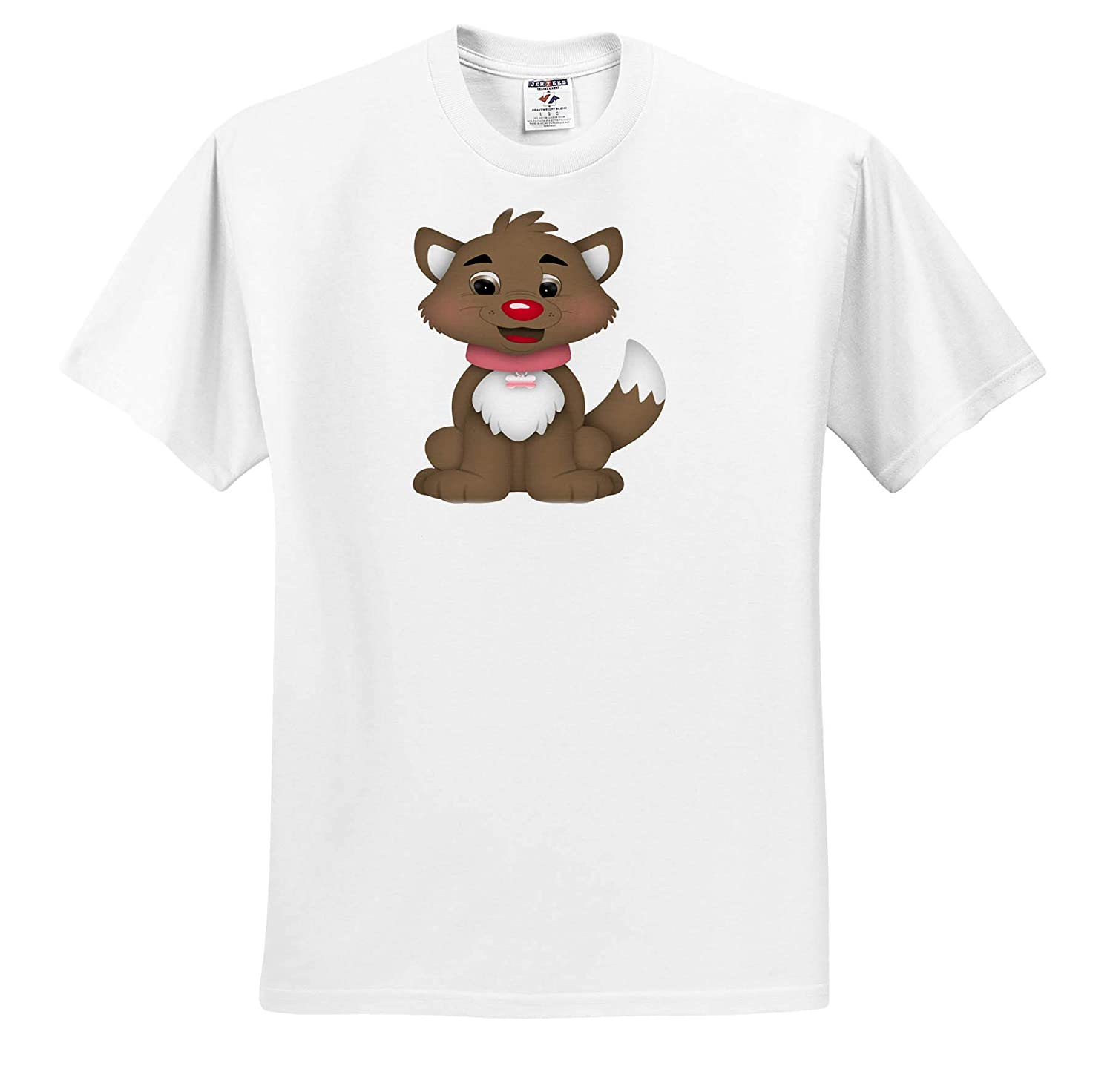 Cute Brown Dog with A Pink Collar Illustration 3dRose Anne Marie Baugh Adult T-Shirt XL Illustrations ts/_318016