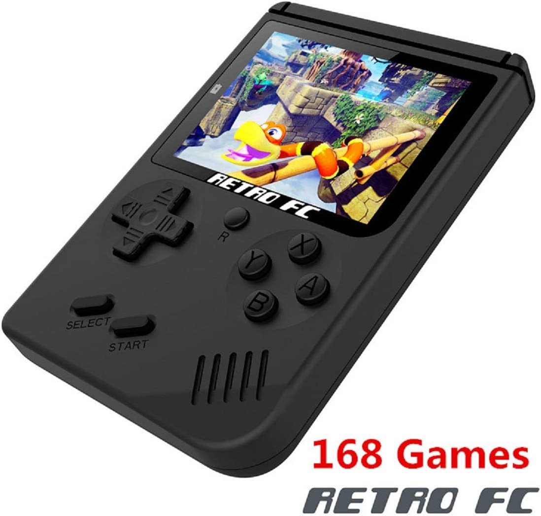 BAORUITENG Handheld Game Console , Retro FC Game Console 3 Inch Screen 168 Classic Games TV Output Game Player , Birthday Present for Children (Black)