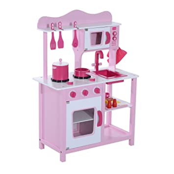 36ab951de448 HOMCOM Wooden Kids Kitchen Children's Pretend Role Play Set Cooker  Imagination Early Learning Toys Game Girls