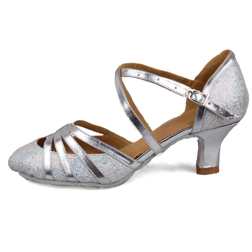 Roymall Women's Silver Fashion Ballroom Party Glitter Latin Dance Shoes Model 512-5,7 B(M) US