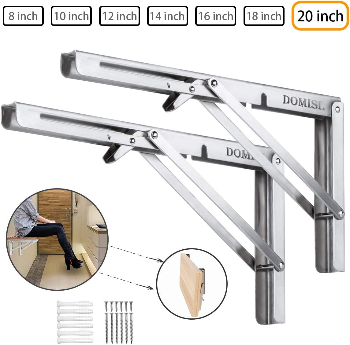 Folding Shelf Brackets 20 Inch , Heavy Duty Stainless Steel Collapsible Wall Mounted Shelf for Table Work Bench, DIY Bracket, Space Saving, Max Load 400lb , Pack of 2 with Install Screws