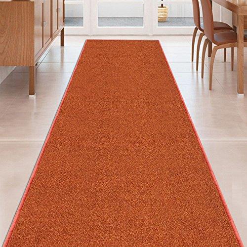Kapaqua Burnt-Orange Solid Plain Rubber Backed Non-Slip Hallway Stair Kitchen Runner Rug Carpet 22in X 5ft ()