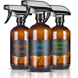 Glass Spray Bottle Amber glass bottles Heavy Duty Black Trigger Sprayer Mist and Stream Settings 16oz Empty Bottles for Cleaning Product, Essential Oils, Aromatherapy, Mist Plant(3 pack)