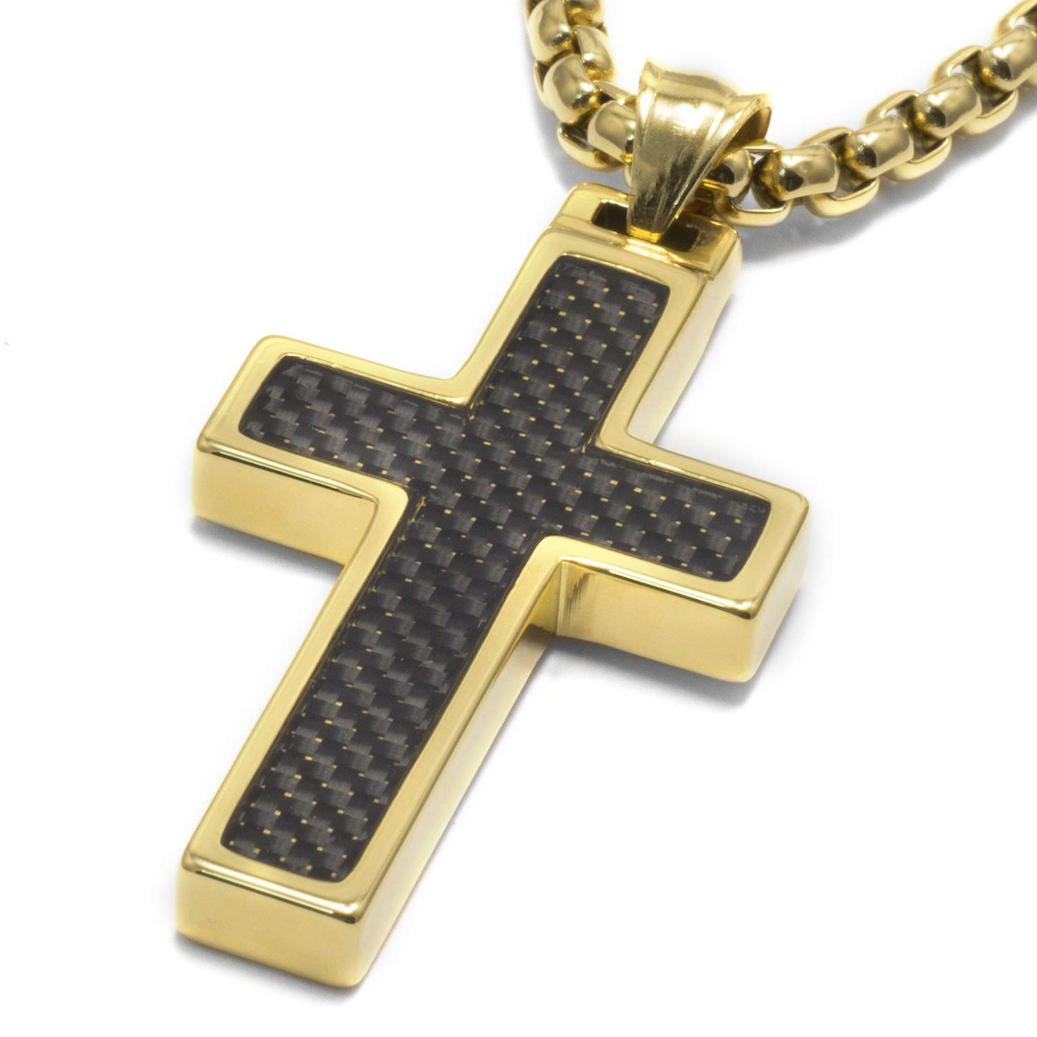 Unique GESTALT Tungsten Cross Pendant. 4mm Surgical Stainless Steel Box Chain. Black Carbon Fiber Inlay. Gold Plated. 22 inch Chain by GESTALT COUTURE