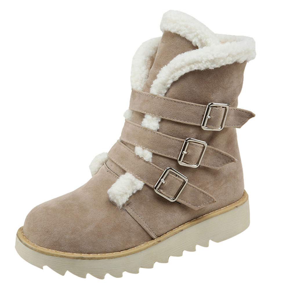 Respctful ♪☆ Women's Fashion Maiden Snow Boot Round Toe Booties Solid Flat Boots Warm Ankle Boots for Winter