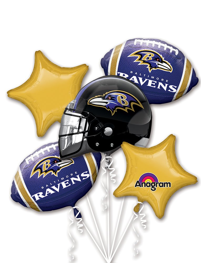 Anagram Bouquet Ravens Foil Balloons, Multicolor
