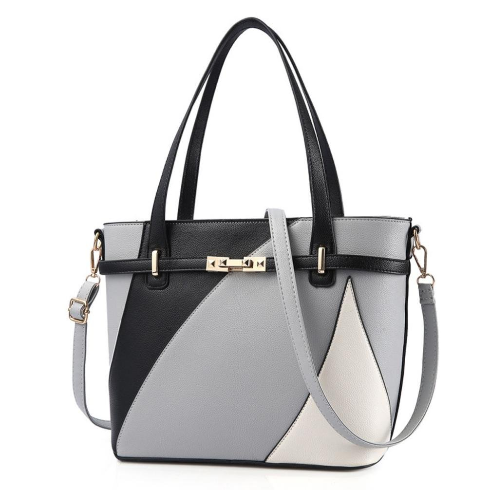 ❤️Women Shoulder Bag, Neartime Hot New Fashion 2018 Handbag Tote Patent PU Leather Embossed wallets (free, Gray)