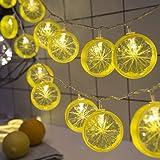 レモン イルミネーションライト ストリングライトled 電池式 室内 クリスマス 3m20led 5m50led フェアリーライト パーティー用 飾り用 (レモン-イエロー電池式, 5m50led)