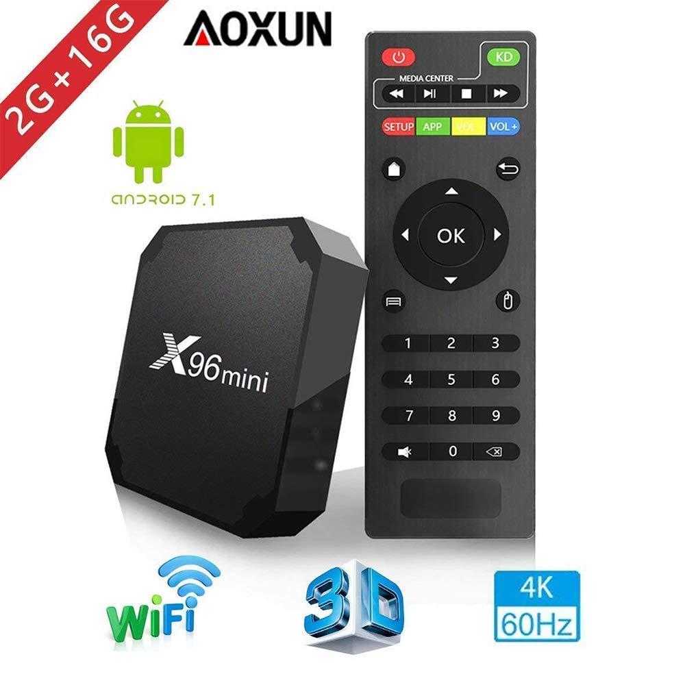 Android TV Box - Smart TV Box with Quad Core X96 Mini Android 7.1 OS Amlogic S905W 3D/4K/HD Media Player 2GB 16GB/WiFi 2.4G X96 Mini TV Box by Aoxun