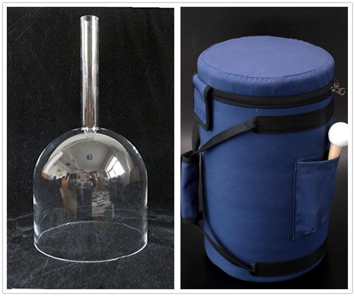 CVNC 7 Inch Handle Clear Quartz Crystal Singing Bowl + 7'' Blue Colored Carry Case Bag + One Suede Mallet & One Rubber Mallet (C# Note + Bag)