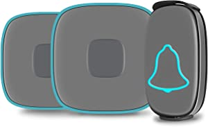 Wireless Doorbell, BO YING Waterproof Door Bell, Chime Kit with Sound and LED Flash, Operating at 1000ft Range with 38 Melodies to Choose, 4 Level Volume, 1Push Button& 2Receivers (Gray)