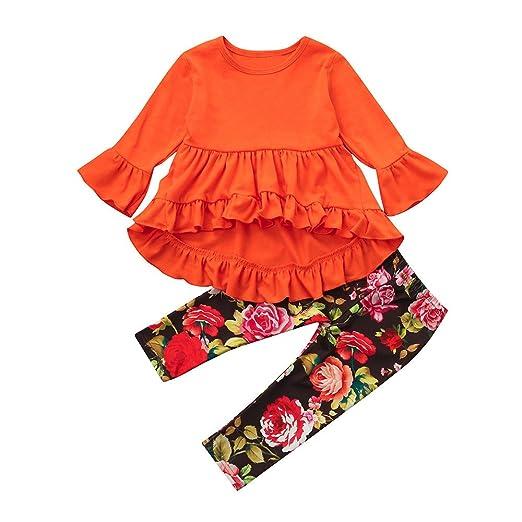 Memela Baby Clothes,Newborn Baby Girls Floral 3pcs Clothes Jumpsuit Romper Bodysuit Pants Outfit Set