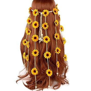 Bijou de t/ête Bohemian Style Chapeau en Bois Perle de Bois Ceinture Weben Boho Bijoux de Cheveux Jaune CHIRORO Bandeau pour Femme Hippie Plume de Tournesol