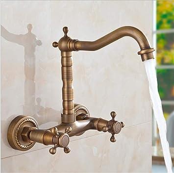 Retro Antik Einhebel Wasserhahn Waschbecken Mischbatterie Küche Badarmatur Gold