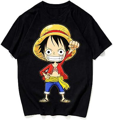 JJJDD One Piece Luffy Camiseta Suelta Anime de Verano Que rodea a los Amantes de los Hombres y Las Mujeres Camisa de algodón de Fondo @Black_L: Amazon.es: Ropa y accesorios