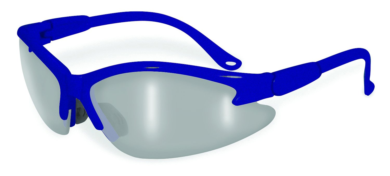 SSP Eyewear Safety Glasses with Blue Frames & Silver Mirrored Shatterproof Lenses, COLUMBIA BLU M