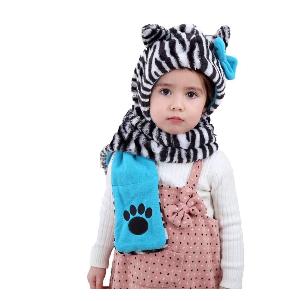 Magicor - Set de bufanda, gorro y guantes - para niñ a gorro y guantes - para niña Negro Cebra Talla única