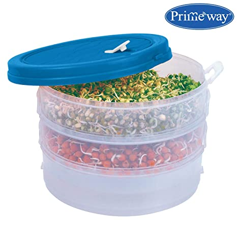 Primeway Plastic Organic Sprout Maker Container, 3 Compartments (Blue) Jars & Containers at amazon