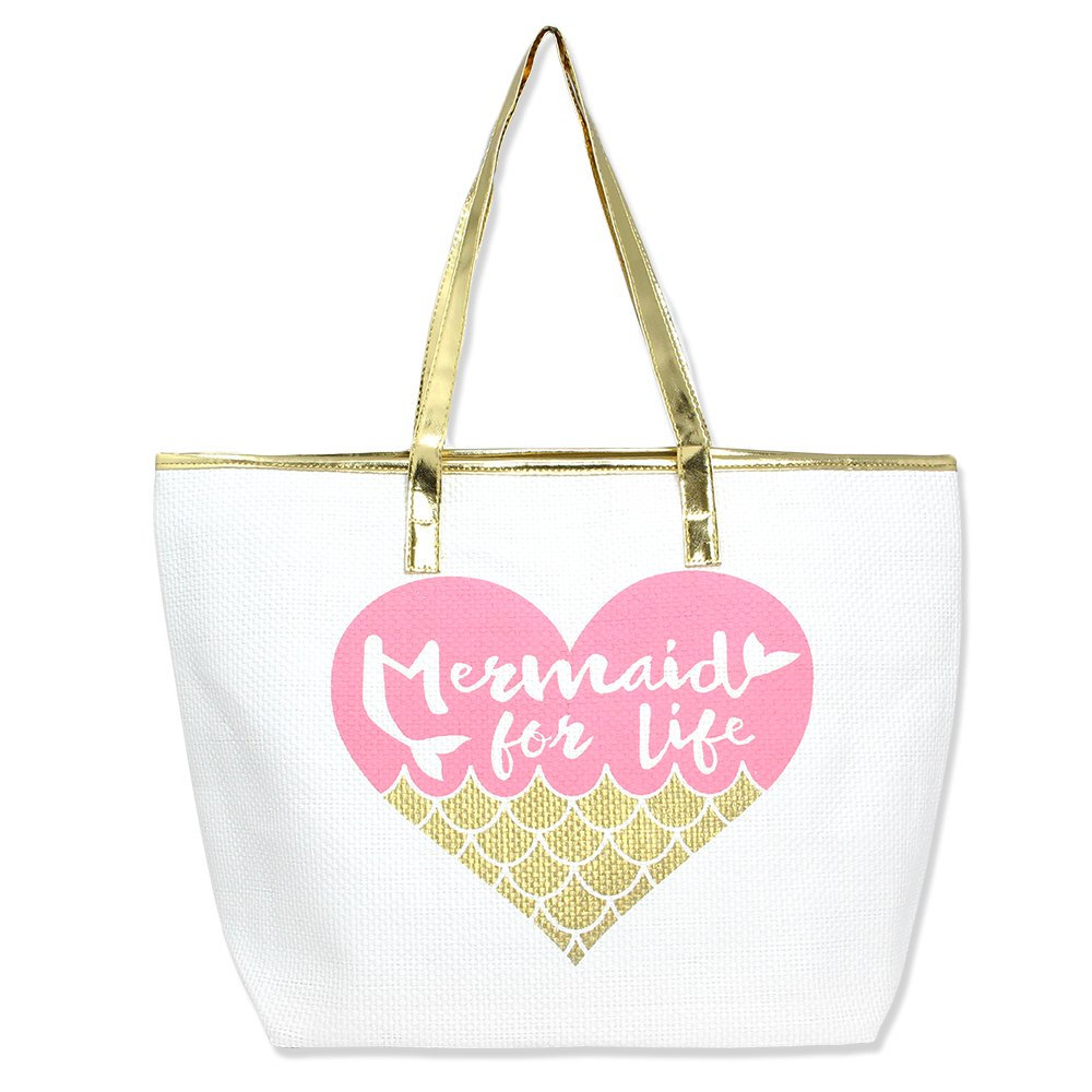 Metallic Trim Large Zipper Top Summer Themed Beach Bag Tote (Mermaid for Life - Pink)
