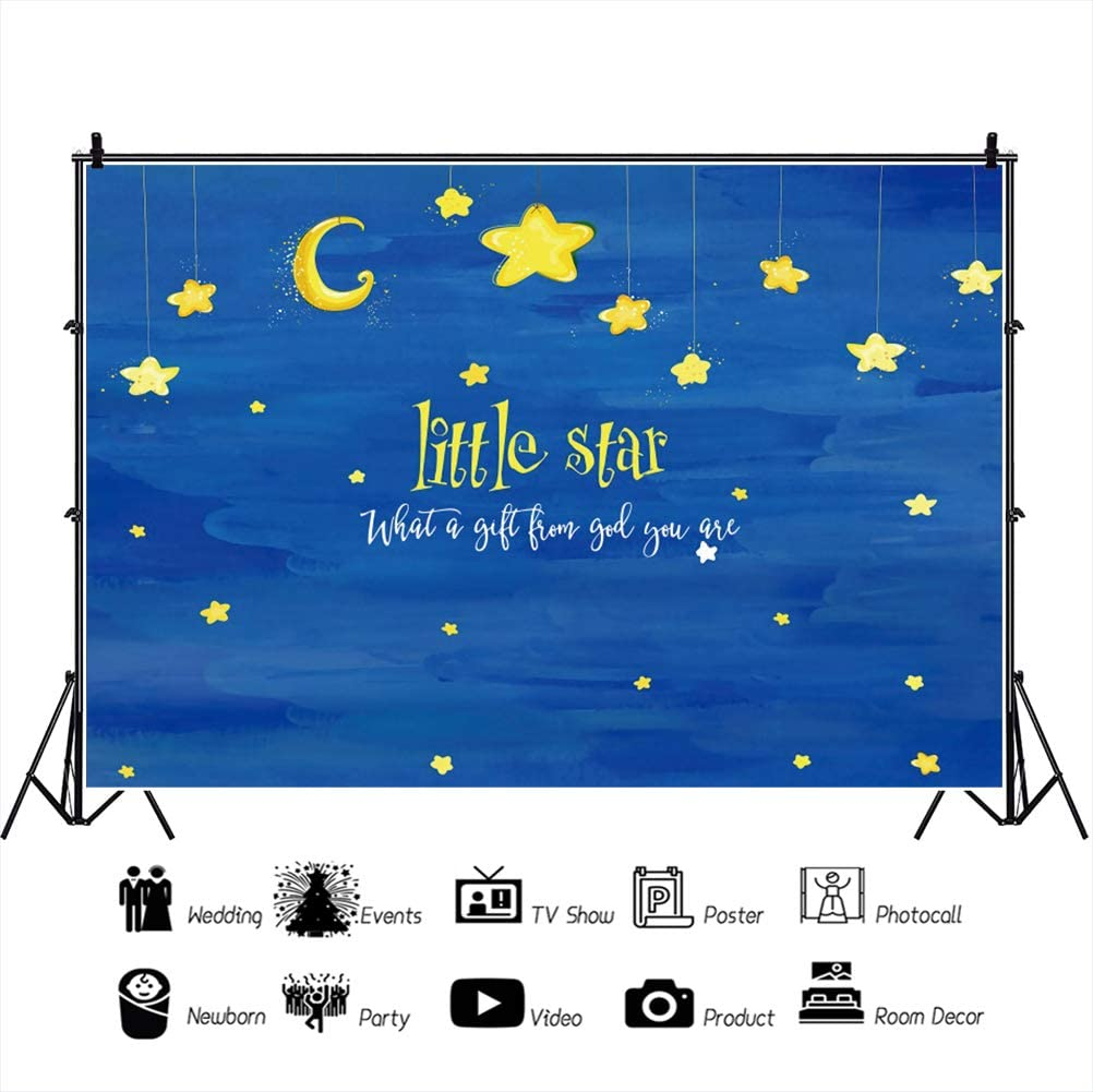 YongFoto 12x8ft Baby Shower Backdrop Little Star What A Gift from God You are Moon Night Photography Background Newborn Party Theme Cake Table Banner Portrait Photo Studio Wall Vinyl Poster