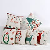 "Tailbox Merry Christmas Series Cotton Linen Square Decorative Throw Pillow Case Cushion Cover 18 ""X 18 ""(Set of 6)"