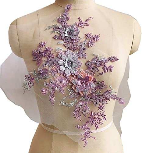 Burgundy Tong Gu 3D Beaded Flower Applique Lace Tulle Floral Patches Sew on Wedding Dress Decor