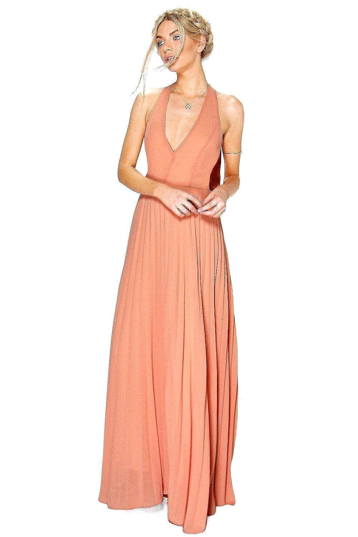 Apricot Womens Sidra Chiffon Pleated Plunge Maxi Dress