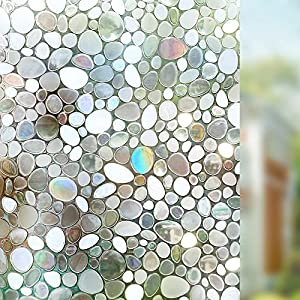 rabbitgoo privacy window film decorative window film static cling window film 177in by 787in 3d pebble glass film for home kitchen bedroom - Window Film Decorative