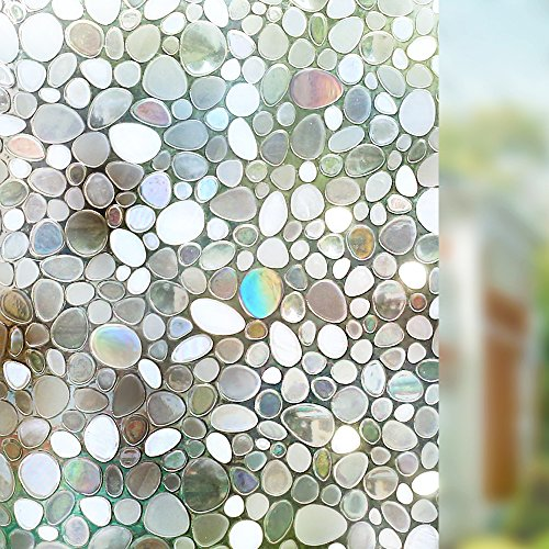 Rabbitgoo Privacy Window Film Decorative Window Film Static Cling Window Film 35.4in. By 78.7in. 3D Pebble Glass Film for Home Kitchen Bedroom (Pebbles Halloween Hair)