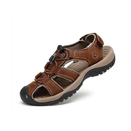 cfdad4c1b30c5 HhGold Summer Men s Leather Beach Sandals Outdoor Sports Walking Trekking  Sandals Closed-toe Velcro