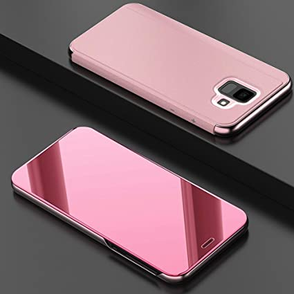46288933497 Samsung A6 Plus Funda,CHENXI Plating Metálico Chapado Espejo Estuche  Protector Flip Soporte Función Protección