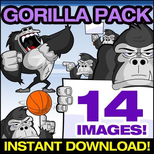 Cartoon Gorilla Clip Art - Cute Gorilla Mascot Stock Illustration!