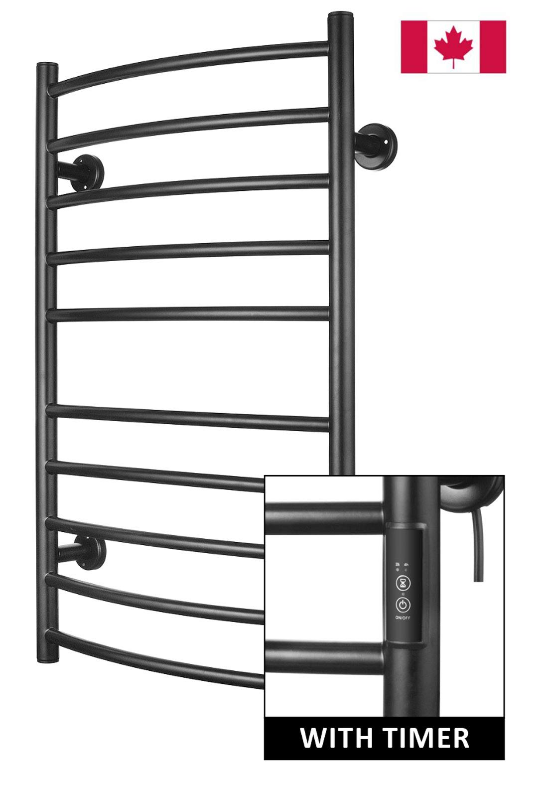 Towel Warmer | Built-in Timer with Led Indicators | 3 Timer Modes: ON/Off, 2 H, 4 H | Wall Mounted | 10 Bars | Power Coated (Carbon Steel) by Odass
