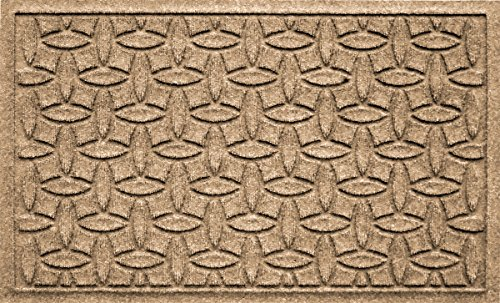 Bungalow Flooring Waterhog Doormat, 2' x 3', Skid Resistant, Easy to Clean, Catches Water and Debris, Ellipse Collection, (Camel Square Rug)