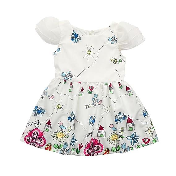 LANDFOX Ropa para Bebés,Vestido de Fiesta de la Princesa del Bordado de la Impresión