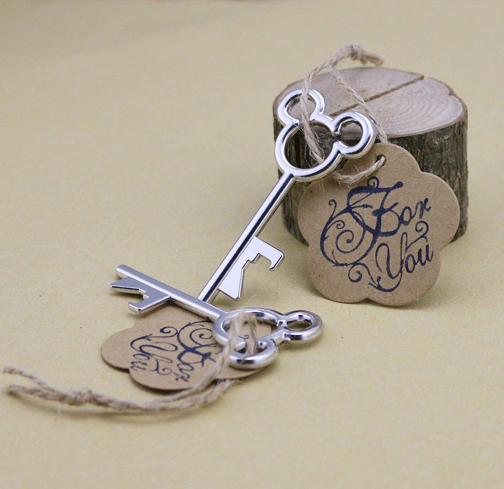 Amazon.com: 50pcs Silver Wedding Favors Skeleton Key Bottle Openers ...