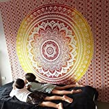 Montreal Tappassier Ombre Indian Wall Hanging Hippie Mandala Tapestry Bohemian Bedspread Ethnic Dorm Decor (Yellow)