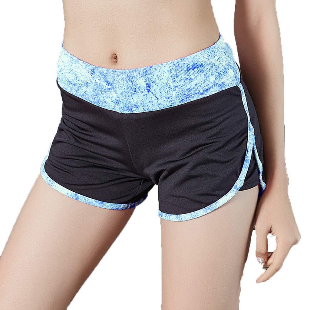 Sunyastor Women's Dolphin Running Workout Shorts Yoga Sport Fitness Short Pant Performance Elastic WAIS Printed Shorts S-L Blue