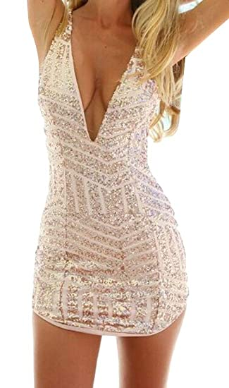 69e3d273e831 Domple Women Sexy Bodycon Glitter Sequins Deep V Neck Backless Party Mini  Dress at Amazon Women's Clothing store: