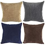 Square/Rectangle Solid Cnady Color Printed Stuffed Cushion ChezMax Corduroy Striped Stuffing Throw Pillow Insert For Lounge Saloon Chair Back Seat Sofa Couch