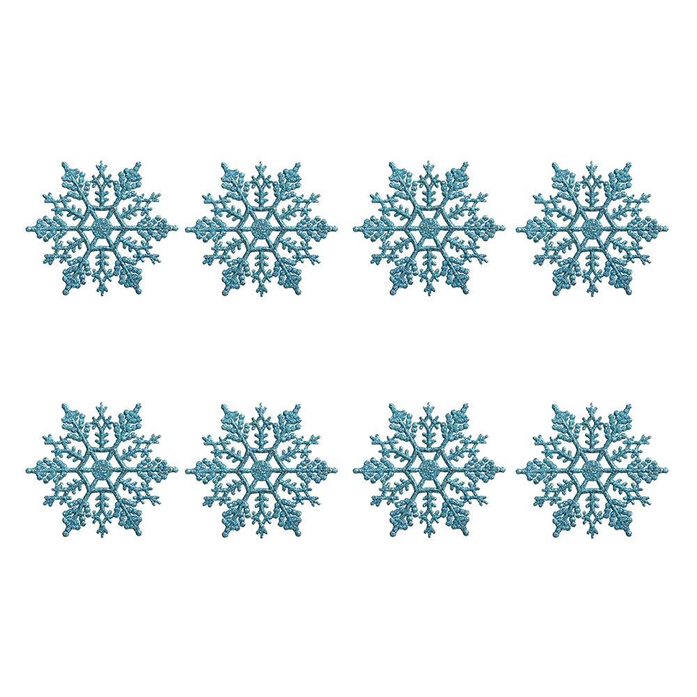 Trifycore 12 PCS Ornamentos creativos de acrílico del Copo de Nieve de Navidad Estilo delicados Adornos del árbol de Navidad Que cuelgan Lago Azul Claro Etiqueta, Cuidado del Cabello